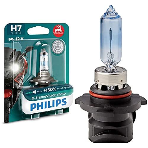 Philips 12972XV+BW X-tremeVision Moto +130% H7 ampoule de phare de moto, 1 pièce & 9005WHVB1 Whitevision Ampoule Automobile Effet Xénon 4300K HB3 12,8V 65W