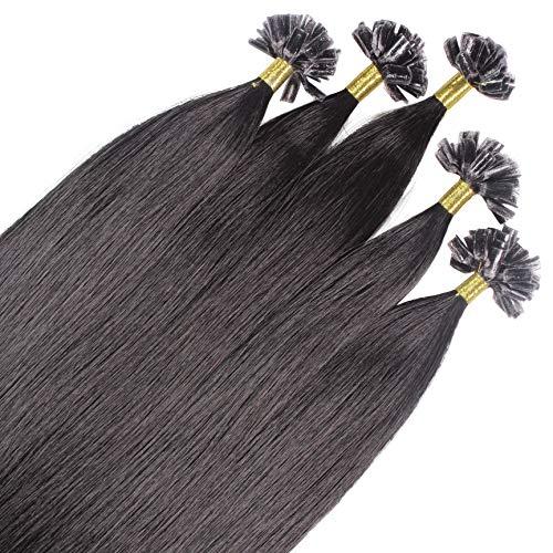 Just Beautiful Hair 50 x 1g extensions cheveux keratine à chaud - 60cm, couleur #1b Noir naturel, lisse