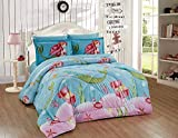 Home Collection Queen Size Comforter and sheet Set Mermaid Treasure Sea Life Sea Stars Jewelry for Girls/Teens Aqua Blue Pink Green Princess of The sea New