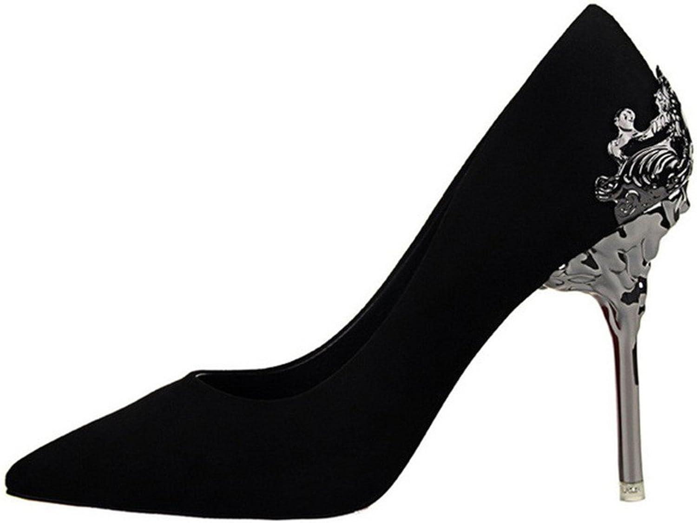 Lady's Pointed-toe pump shoes Black color