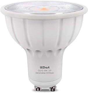 LEDart - Bombilla GU10 LED 8W regulable, 10º / 800LM 90-260V, blanco cálido 3000K Iluminación para cuadro y objeto decorativo