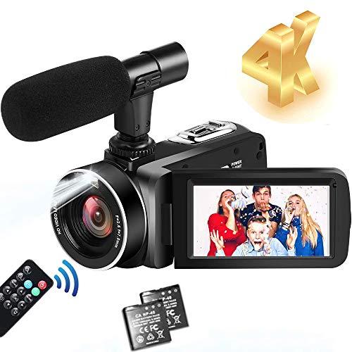 Videocamere 4K Videocamera Ultra HD 30MP 18X Zoom Digitale Camcorder Touch Screen Ruotabile Videocamera per YouTube con Microfono Esterno, 2 Batterie