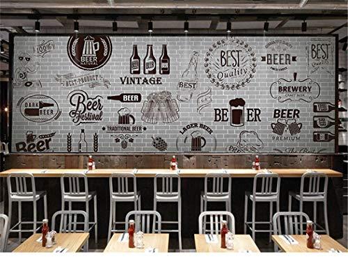 Tapete Hintergrund-Tapetenbenutzerdefinierte 3D Mural Grau Zement Schwarz Weiße Mauer Retro Tapete Bar Grill Fast-Food-Restaurant Bier Shop 3D Tapete Wandbild, 350 * 245 Cm