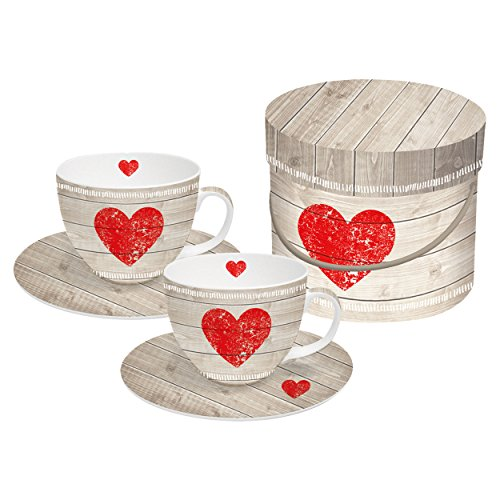 PPD Heart Of Wood Cappuccinotassen-Set mit Untertassen, Tasse, Kaffee Becher mit Untere, 4-tlg., Magnesiumporzellan, Rot / Taupe, 200 ml, 602801