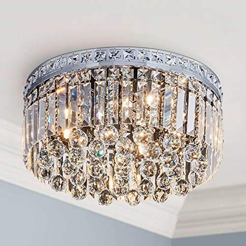 Saint Mossi 9-Lights Crystal Chandelier Light Fixture with K9 Crystals,Modern Flush Mount Ceiling Light Fixtures Modern Chandelier for Bedroom,Dining Room,Livingroom,H8' x D18'