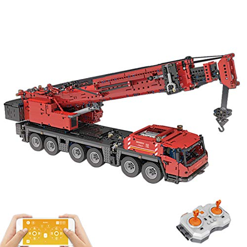 TRUU Grúa RC Kgrúa Baustein 4460 bloques de montaje MOC coche juguete con motor teledirigido camión compatible con Lego Technik, rojo
