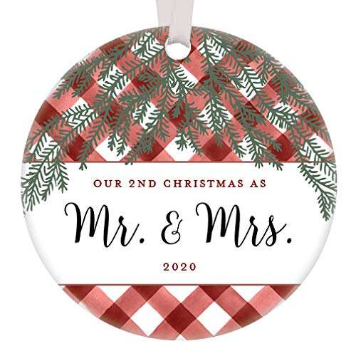 """2nd Christmas Married 2020 Ornament Mr & Mrs Best Anniversary Gift Husband Wife Rustic Red White Gingham Farmhouse Perfect Match Wedding Present Unique Holiday Pine Decoration 3"""" Ceramic Flat Circle"""