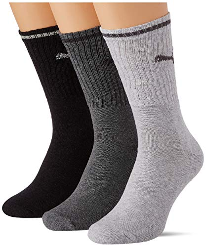 PUMA Sport Crew Stripe Socks (3 Pack) Calcetines, Anthracite/Grey, 43/46 Unisex Adulto