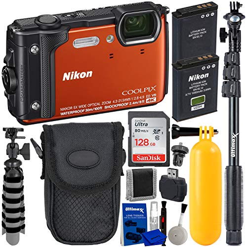 Nikon COOLPIX W300 Waterproof Digital Camera (Orange) with Must-Have Accessory Bundle – Includes: SanDisk Ultra 128GB SDXC Memory Card + Seller's Extended Life ENEL12 Battery + Camera Case + More