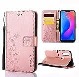 XINKO Xiaomi Mi A2 Lite Hülle, Retro Blumen Muster Design -[Ultra Slim][Card Slot] Wallet Tasche Hülle für Xiaomi Mi A2 Lite (Roségold)