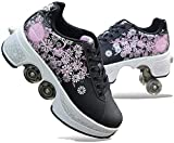 YUANYI Roller Shoes Adulte Chaussure Roller Fille Kick Roller Skate Shoes Patins A roulettes 4 Roues Patins A roulettes Casual Sneakers Adapté,36