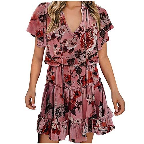 L9WEI Vestido de Playa Bohemio para Mujer Vestidos Cortos Atractivos con Cuello en V Vestido de Playa Informal para Niñas Falda de Flores de Manga Corta