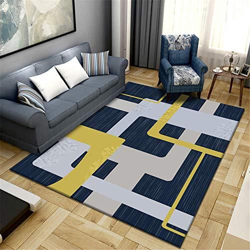 DJHWWD Spiele Teppich Teppich blaues Quadrat geometrisches Muster rutschfest Wohnzimmer Teppich Anti-Verschleiß Teppich Jungen Jugendzimmer Teppich Rund Kinderzimmer blau 80X160CM