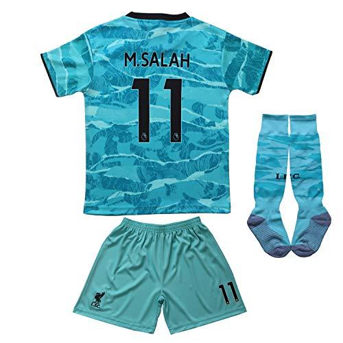 BIRD BOX 2020/2021 Liverpool Away #11 Mo Salah Blue Soccer Kids Jersey Shorts Socks Set Youth Sizes (Blue, 26 (8-9 Years))