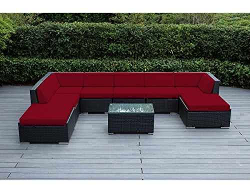 Hot Sale ohana collection PN0902red Genuine Ohana Outdoor Patio Wicker Furniture 9-Piece All Weather Gorgeous Couch Set with Free Patio Cover, Red