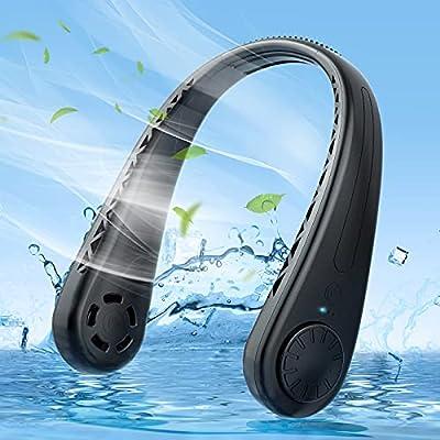 Cosyzone Portable Neck Fan , Hands Free Bladeless Fan ,Wearable Personal Fan, Leafless, Rechargeable, Headphone Design, USB Powered Desk Fan,3 Speeds-Black