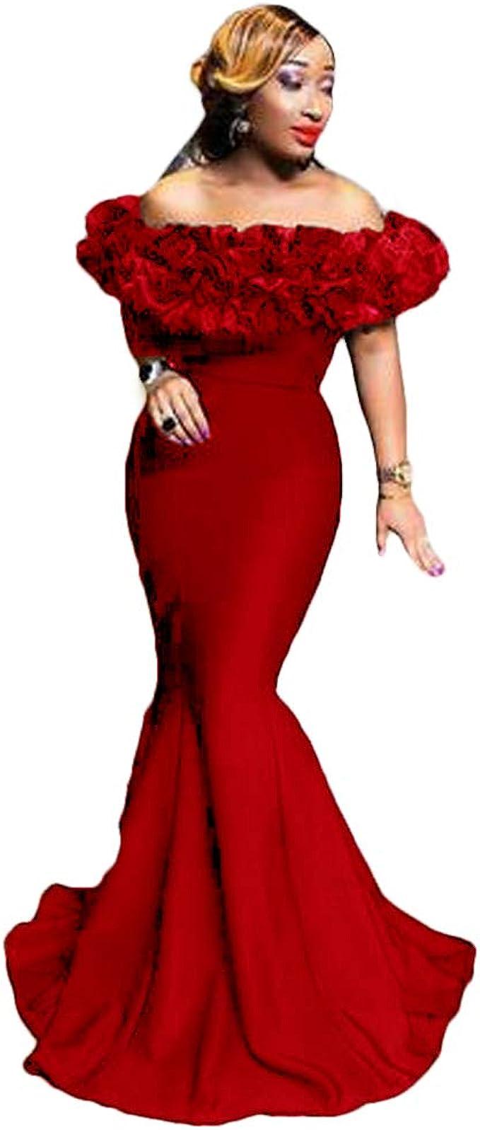 Hyc Abendkleid Afrikanische Meerjungfrau Lang Mit Ruschen Halsausschnitt Abschlussballkleid Reissverschluss Hinten Armellos Formelles Partykleid Rot 42 Amazon De Bekleidung