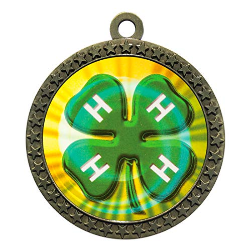 Express Medals 4H Gold Medal Trophy Award with Neck Ribbon STDD212-MY423 25PK