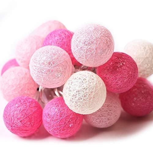XIYUNTE Bola de algodón Guirnaldas luminosas - 9.8FT / 20LED blanco y rosa bola de algodón (φ4cm) Iluminación de Navidad de interior, Luces hadas decor de interior para Navidad