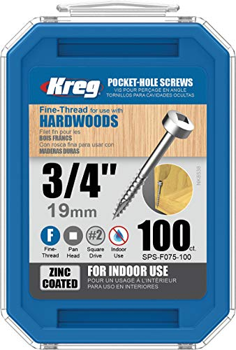 "KREG SPS-F075-100 Pocket Screws, 3/4"" #6 Fine-Thread, Pan-Head (100 Count), Zinc"