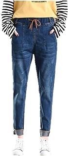 N\P Elástico Novio Mujeres Jeans Mujer Más el Tamaño Suelto Jeans Cintura Alta Elástica Denim Haren Pantalones