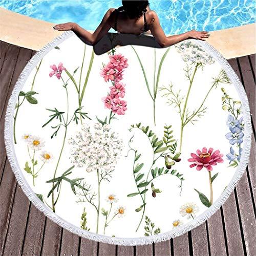 Kuidf Wildflower Round Beach Towel Blanket, Tender Floral Wildflowers White Blue and Pink Delphinium Microfiber Beach Towel, Lightweight Picnic Carpet Towel for Kids Women Men, 59 Inches