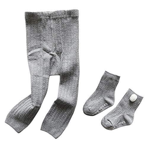 Camilife Baumwolle Strumpfhosen für Kleinkind Kinder Mädchen für Frühjahr Herbst Süß Lieblich Gestrickte Leggings Socken Set - Hellgrau Größe 24/26