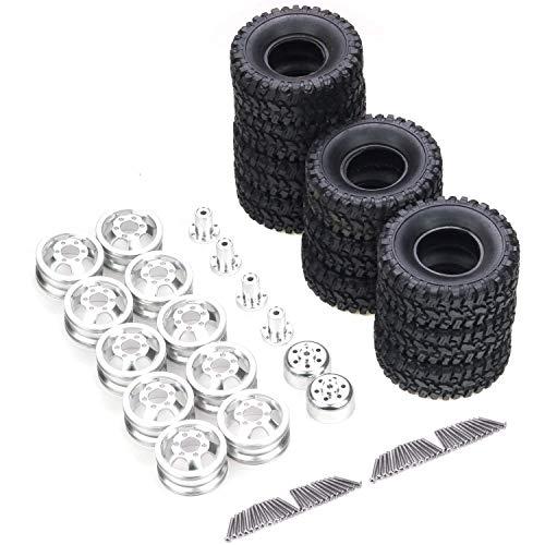 Ellenbogenorthese-LQ Rueda de Metal de Doble neumático RC con neumático de Goma para WPL B16 B36 Q60 Q61 Q63 Q64 6WD 6X6 Piezas de actualización de Coche de camión RC
