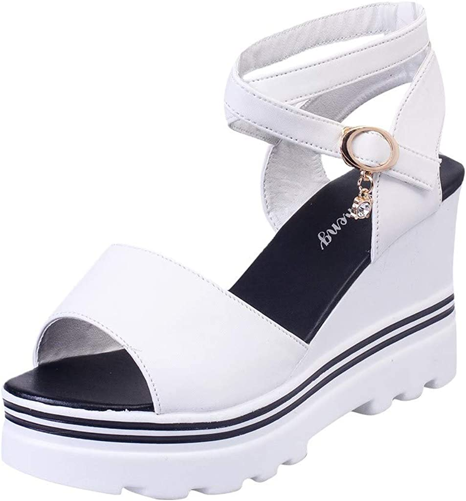 Women Platform Ankle Strap Heeled White