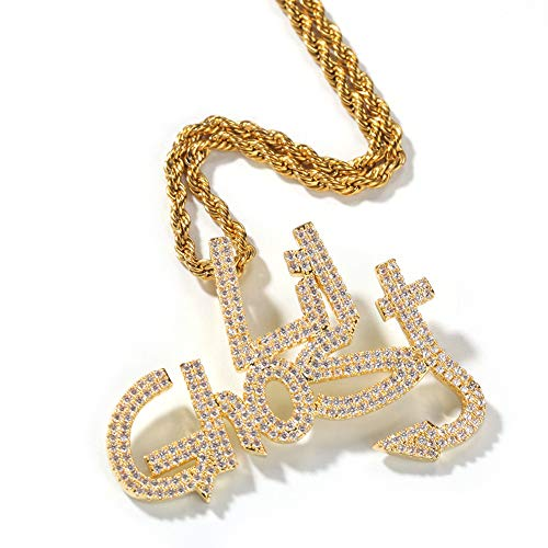 KMASAL - Collar chapado en oro de 18 quilates con diamantes de laboratorio con diseño de fantasma de Lil con colgante de cadena de hip hop para hombres y mujeres