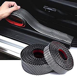 WICHEMI Car Door Sill Protector Universal Auto Scuff Guard 5D Carbon Fiber Rubber Front Rear Guard Bumper Seal Strip Waterproof Door Entry Plate Scratch Cover Protectors (1mx0.3cm)