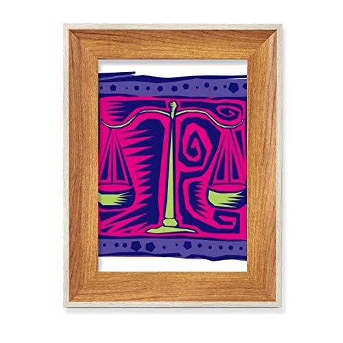 Constelación Libra Mexicon Cultura Grabado Escritorio Marco de fotos de madera Mostrar cuadro Arte Pintura Múltiples Sets