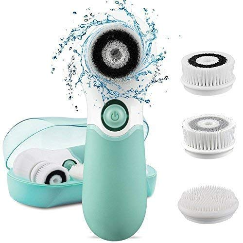KOOVON Face Brush with 3 Facial Cleansing Brush Heads,Waterproof Electric Spin Cleansing System and Gentle Exfoliating for All Skin Types