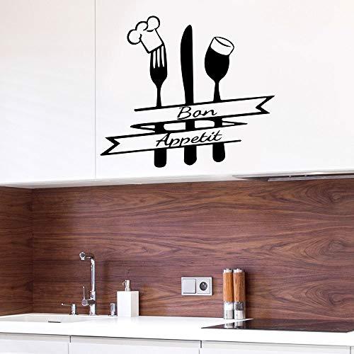 Bon Appetite Sign Tenedor Cuchara y Cabeza de Chef Etiqueta de la pared Etiqueta de la pared de la cocina Decoración del hogar Restaurante Impermeable A1 57x50cm