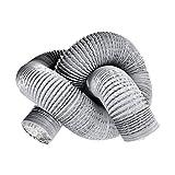 Oopen Tuyau de ventilation en PVC flexible en aluminium 100 mm de diamètre pour extracteur de ventilation/hydroponie Gris 5 m