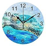 Gokruati Reloj de Pared silencioso,Reloj de Cocina,Relojes de Cuarzo silencioso Que no Hace tictac,para Sala de Estar,dormitorios,(Diámetro: 25 cm),Tortuga de mar Underwater Wall Sea World Animal