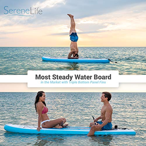 SereneLife Inflatable Stand Up Paddle Board (6 Inches Thick) with Premium Accessories & CarryBag  ...