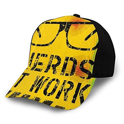 FULIYA Trucker Caps Baseball Cap verstellbar,Nerds at Work Grunge Fictional Sign Glasses Hazard Stripes Work Hard Theme, Cap Baseball Snapback Summer
