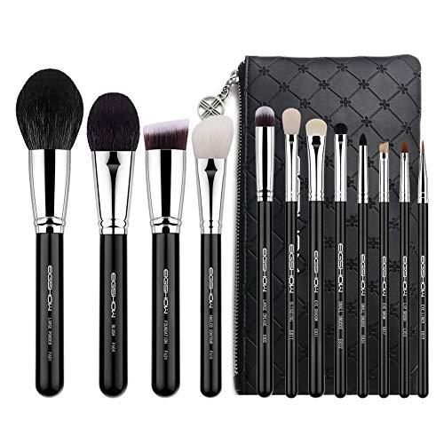 Kit de Brochas Maquillaje 12 Piezas EIGSHOW,clásico,super suave, De fibra sintética y pelo de cabra , de gama alta