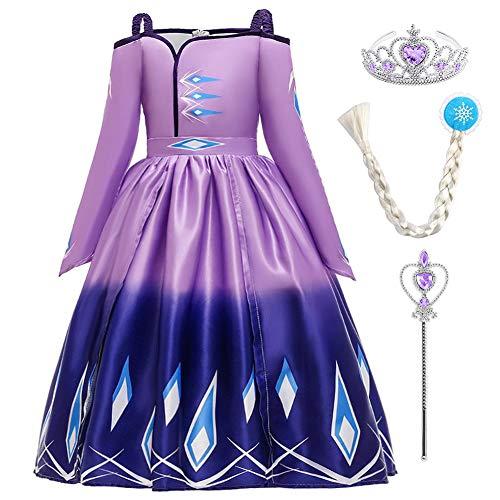FYMNSI Disfraz de princesa Elsa Anna para nia, 2 vestidos, con accesorios, para carnaval, Halloween, cosplay, para 4-14 aos Farbverlauf Lila 4-5 Aos