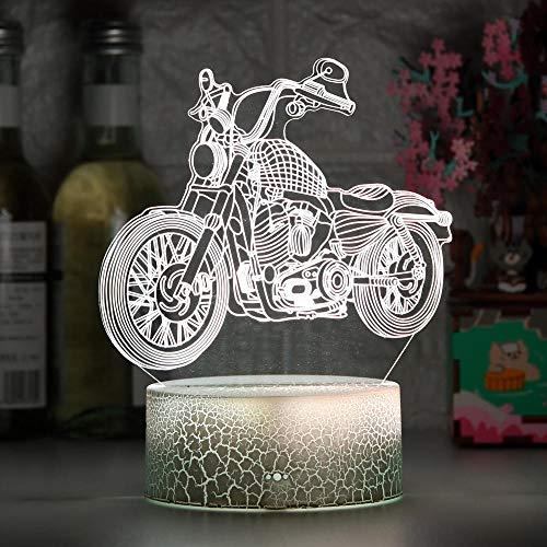ZMSY - Lámpara de noche 3D para moto, para niños, decoración de habitación infantil, regalo de cumpleaños, para niños, estudiantes, desktop