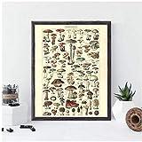 DLFALG Impresiones botánicas antiguas Versión del cartel de la seta de la vendimia Imagen educativa del arte de la pared Pintura de la lona Sala de estar Decoración para el hogar-40x60cm Sin marco