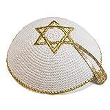 De punto 17 cm blanco oro Estrella David Creo kipá Kipa judía sinagoga