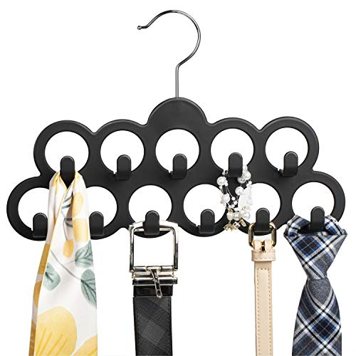 SMARTAKE Belt Hanger 11 Loops Tie Rack with Hooks 360 Degree Rotating Belt Organizer Non-Slip Durable Hanging Closet Accessories Holder for Leather Belt Bow Tie Scarves and More Black