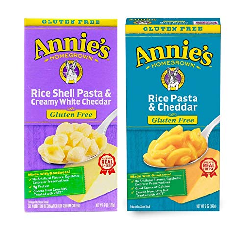 Annie's Homegrown Gluten Free Macaroni and Cheese - Set of 2 Boxes - Rice Pasta with Cheddar and Rice Shells with Creamy White Cheddar, 6oz each
