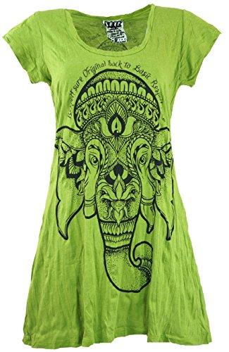 Guru-Shop Sure Long Shirt, Minikleid, Damen, Lemon, Baumwolle, Size:S (36), Bedrucktes Shirt Alternative Bekleidung