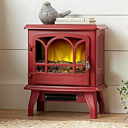 DHYBDZ Calentador de Estufa de Chimenea eléctrico, Calentador de Chimenea Llama Realista en 3D, Calentador portátil con Modo de calefacción Ajustable y diseño Seguro de sobrecalentamiento,Rojo