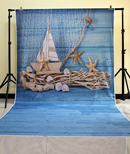 HUA PHOTO® 150*300cm Madera azul fondos de fotografía de vinilo photo studio redes de pesca soporte telón de diseño único fondo fotográfico XT-3610