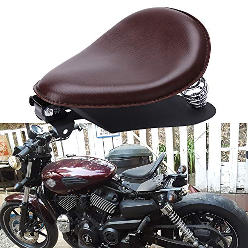 Custom Brown Motorcycle Leather Solo Seat with Spring Baseplate for Harley Davidson Sportster XL 1200 883 48 Chopper Bobber