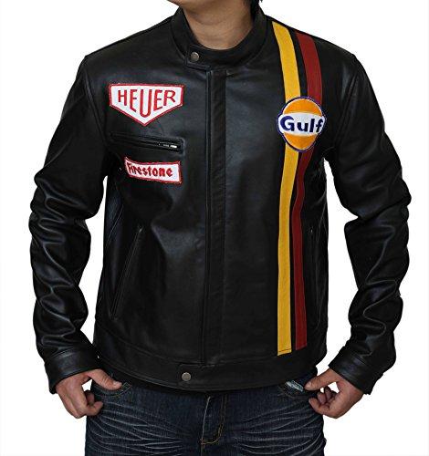 Steve McQueen Le Man Klassische Lederjacke aus echtem Rindsleder, Schwarz Gr. XXL - Brust 114.3 cm, Schwarz